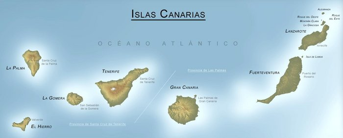 острова Ла-Гомера, Ла Пальма и Иерро.